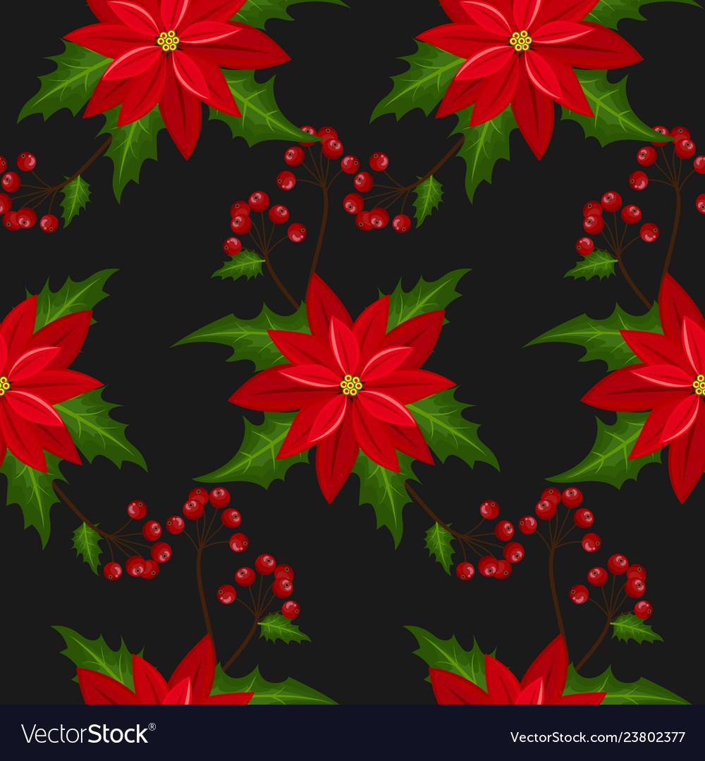 Poinsettia christmas flowers seamless pattern