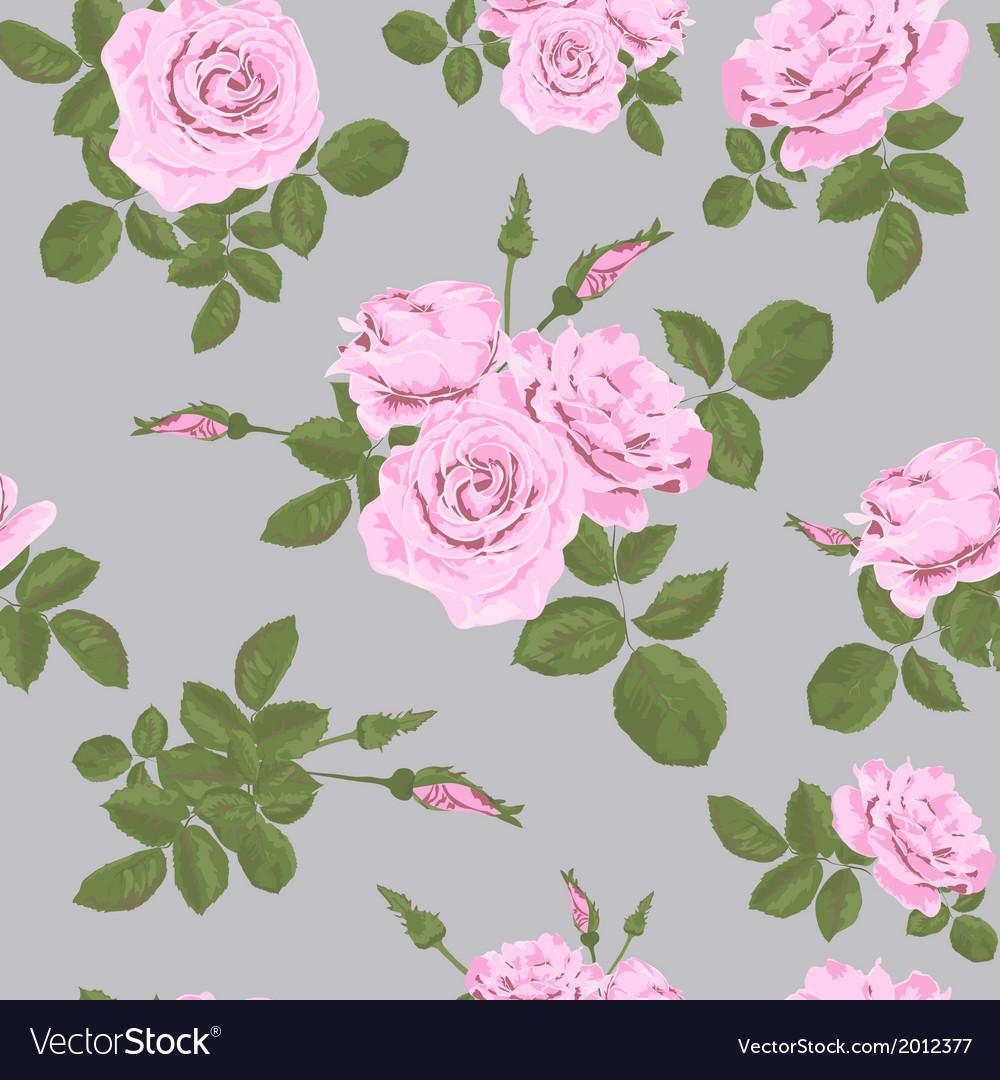 Rose seamless pattern on grey background