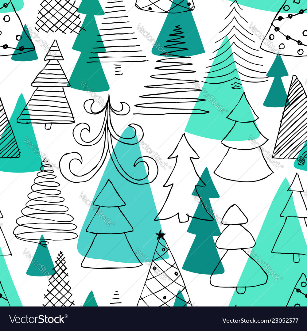 Seamless pattern of hand drawn sketch christmas