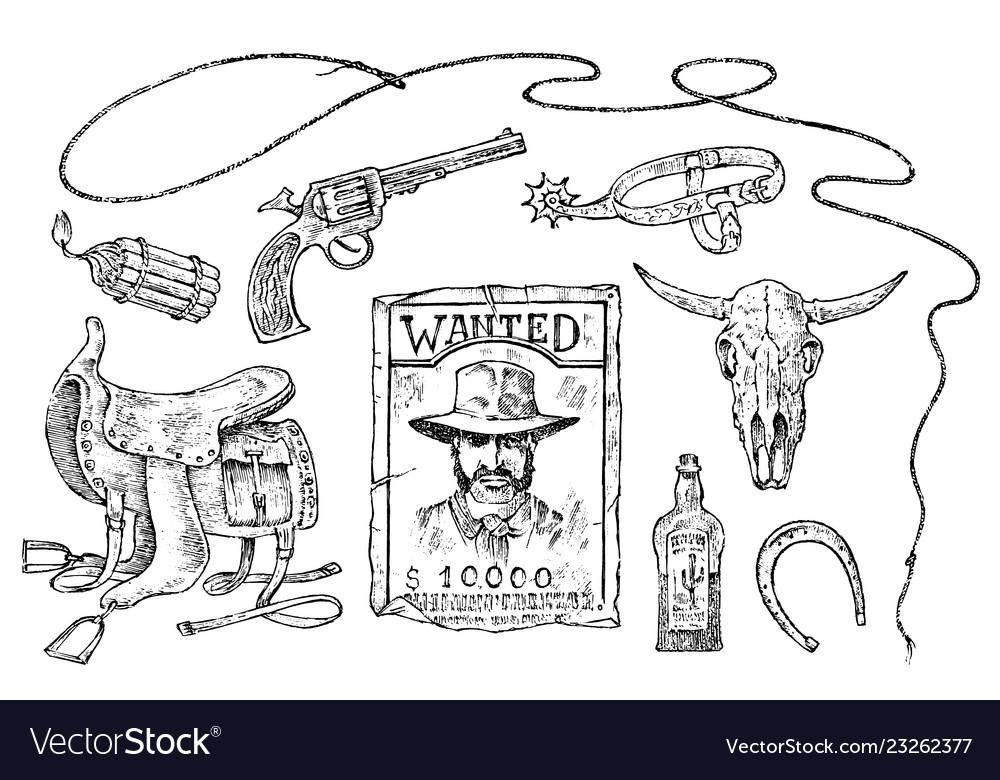 Set cowboys western icons texas rangers wild