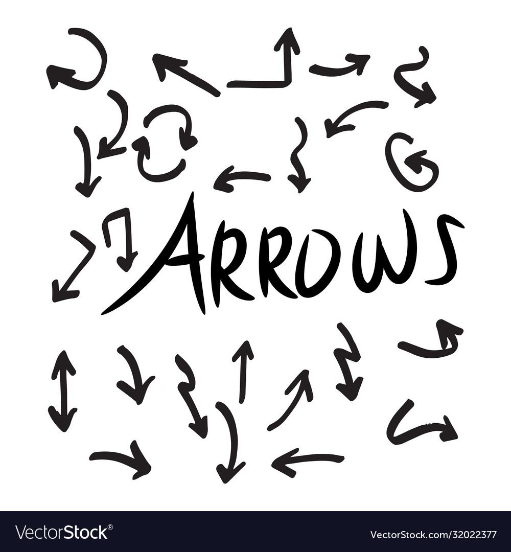 Set hand drawn arrows doodle on white