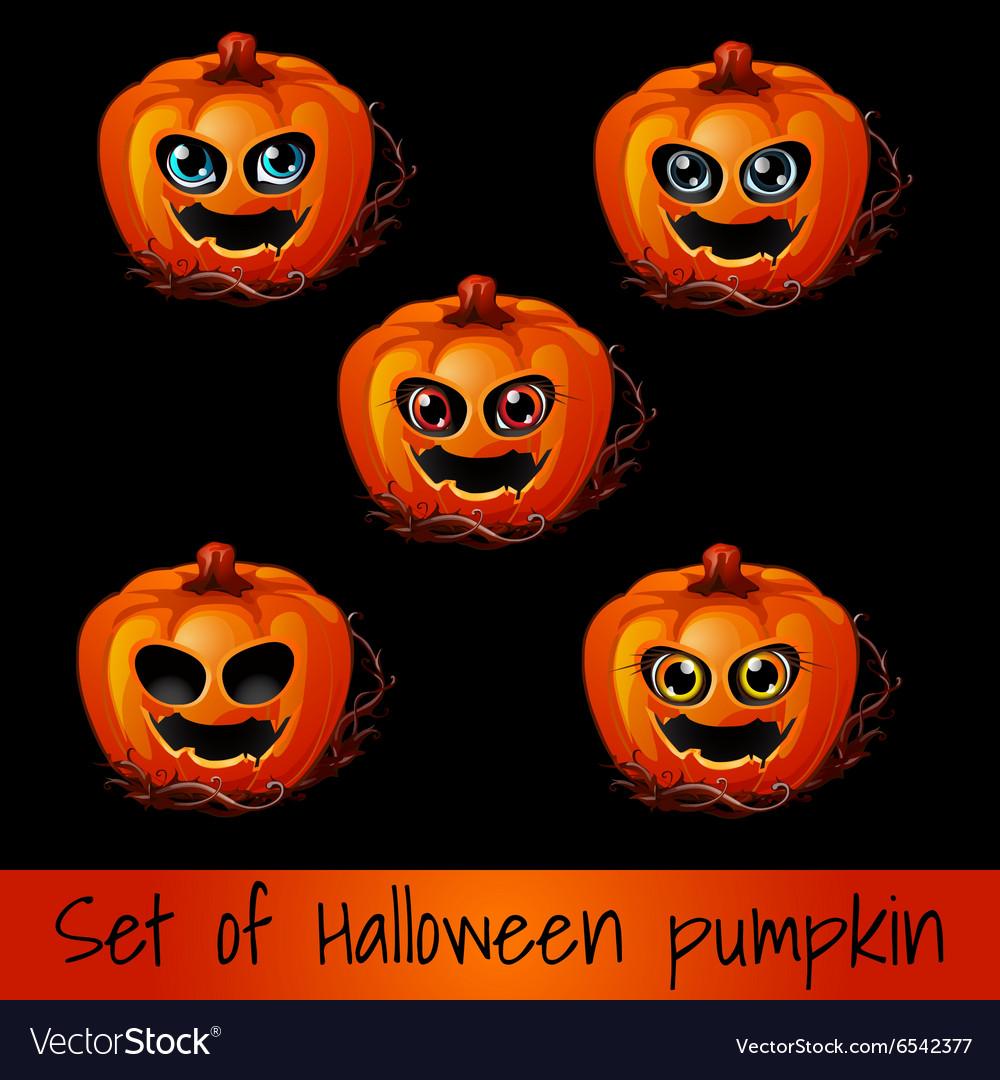 Set of five pumpkins for Halloween
