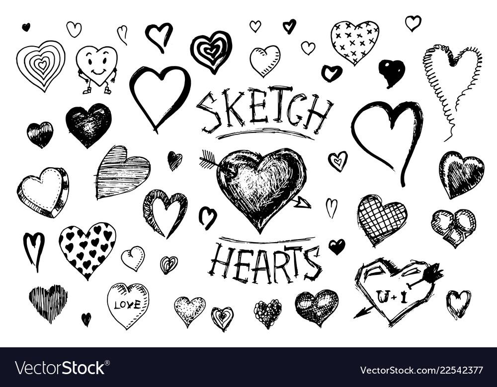 Set of hearts doodle valentine love symbol