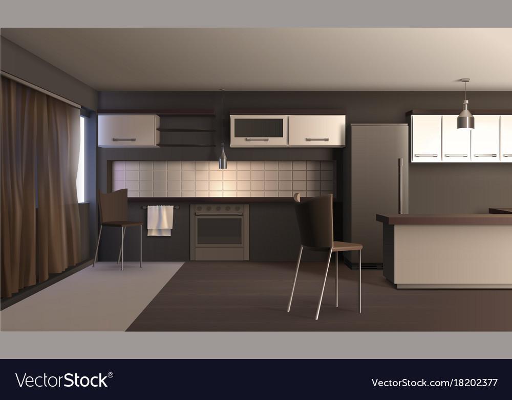 Studio Apartment Kitchen Design Royalty Free Vector Image Adorable Studio Apartment Kitchen Design