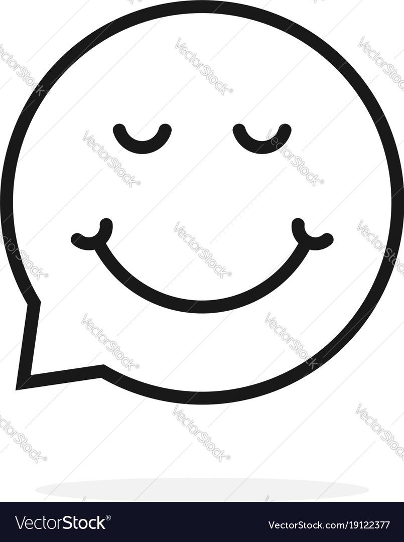 Thin line enjoy emoji speech bubble logo
