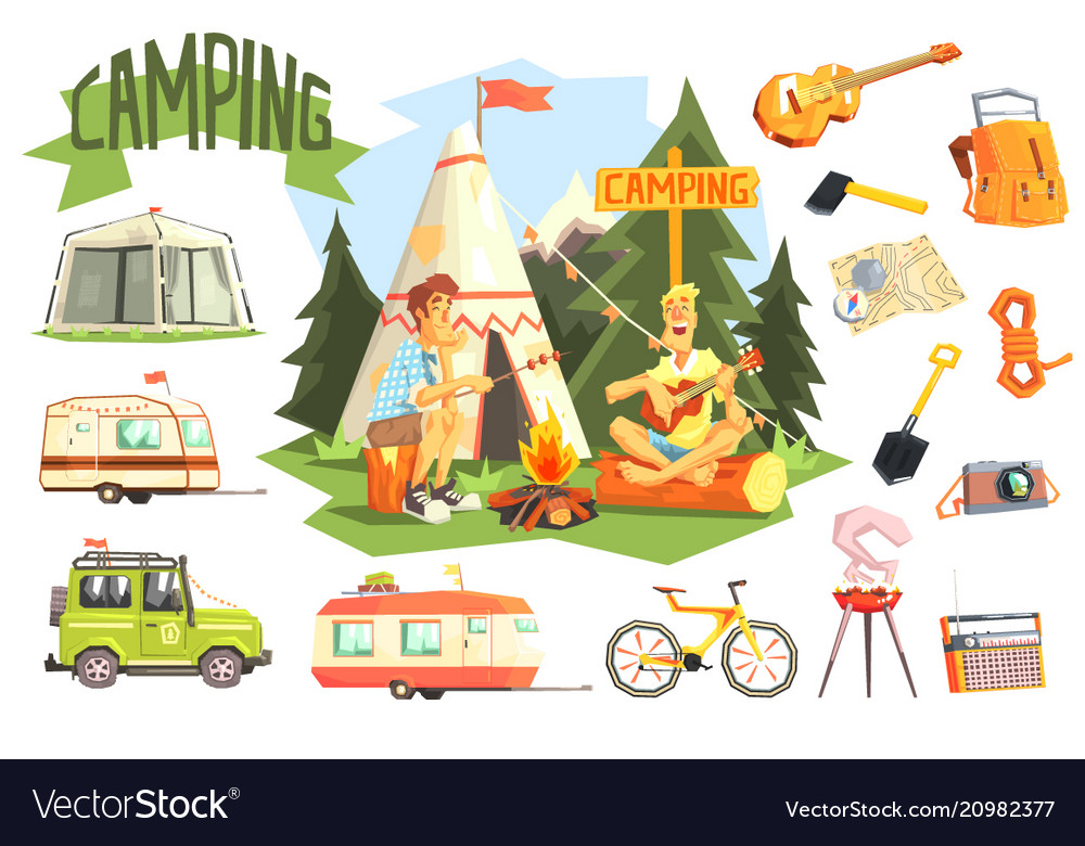 Two guys enjoying camping in forest surrounded by vector image