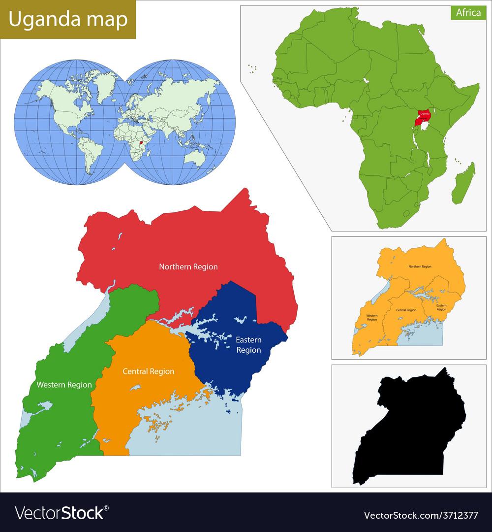 Uganda map Royalty Free Vector Image - VectorStock