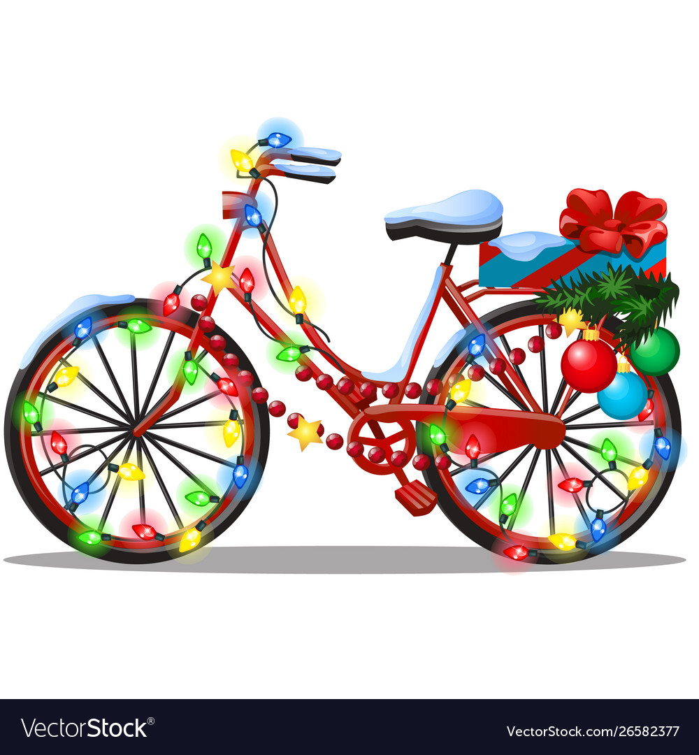 Vintage bicycle decorated in christmas and new