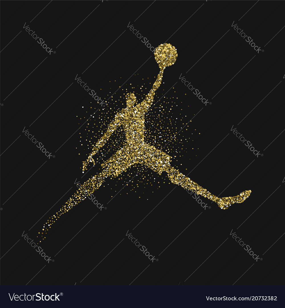 Basketball player jump gold glitter silhouette vector image