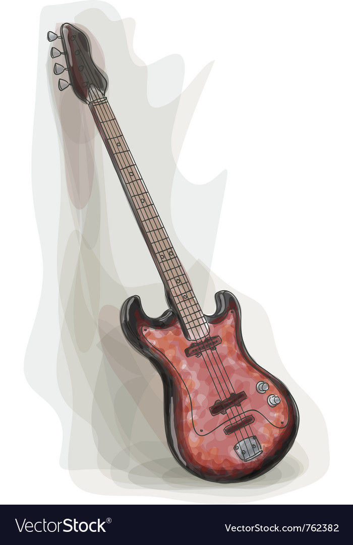 Bass electric guitar vector image