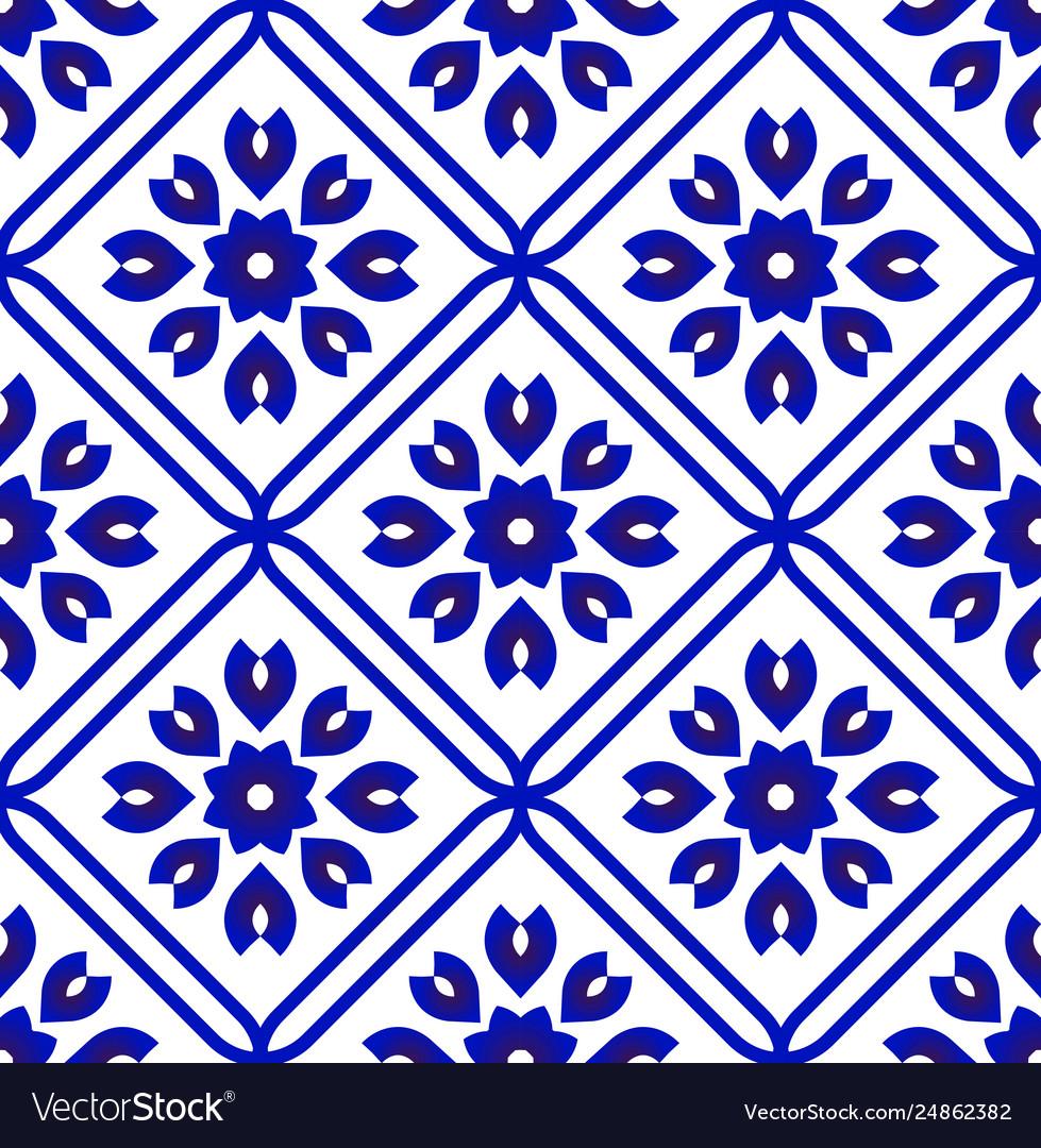 Blue And White Ceramic Tile Pattern