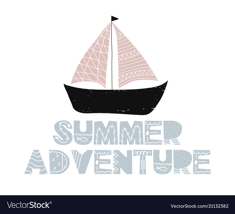 Card with lettering summer adventure and ship in