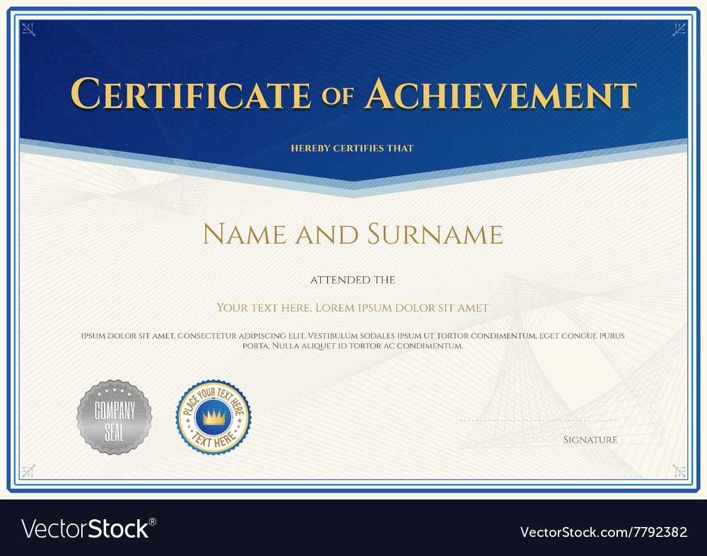 certificate achievement template blue theme vector image - Certificate Of Accomplishment Template