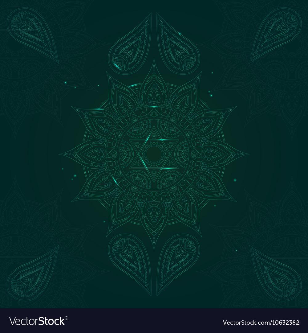 Chakra anahata on dark green background