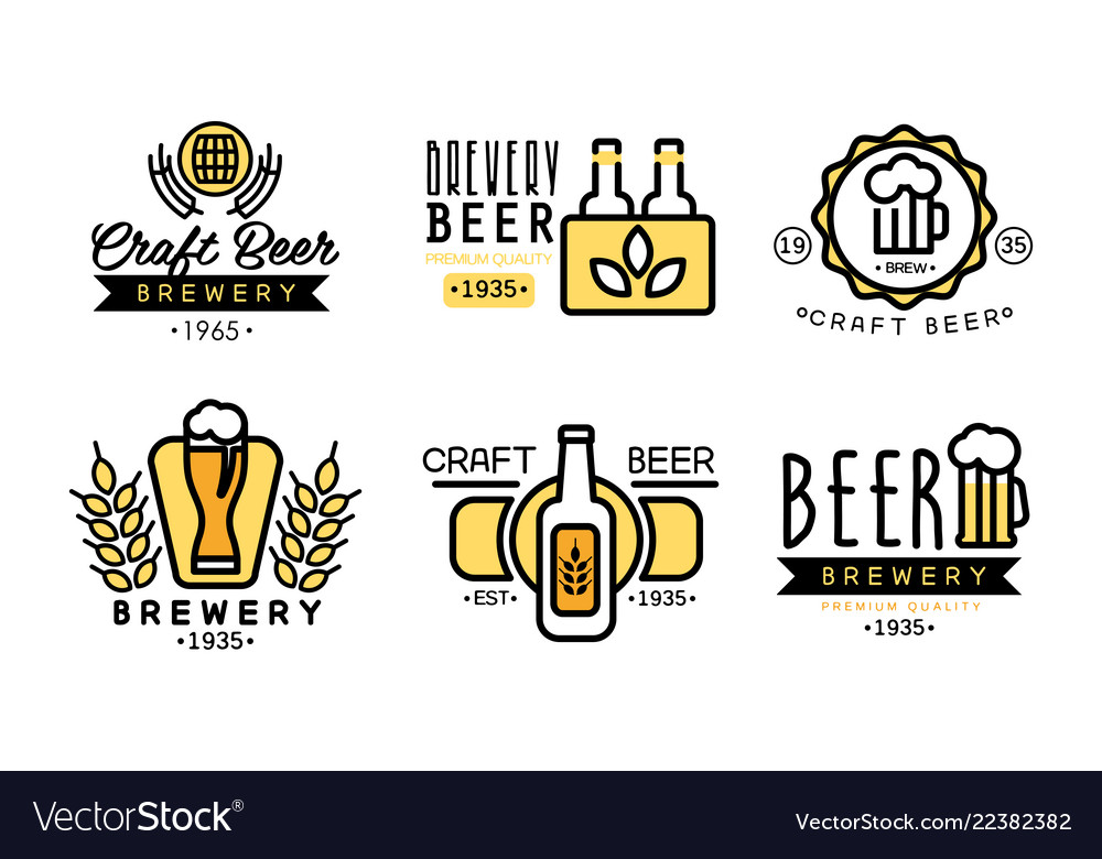 Craft beer logo set vintage brewery premium