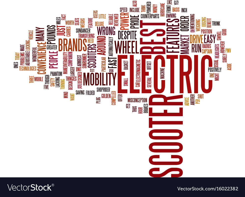 Electric scooter brands text background word