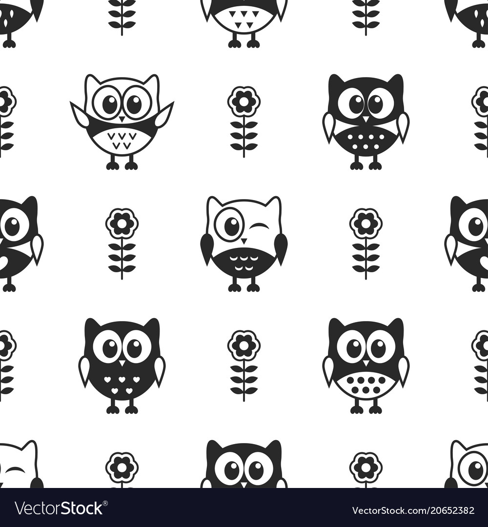 Seamless pattern with black and white owls
