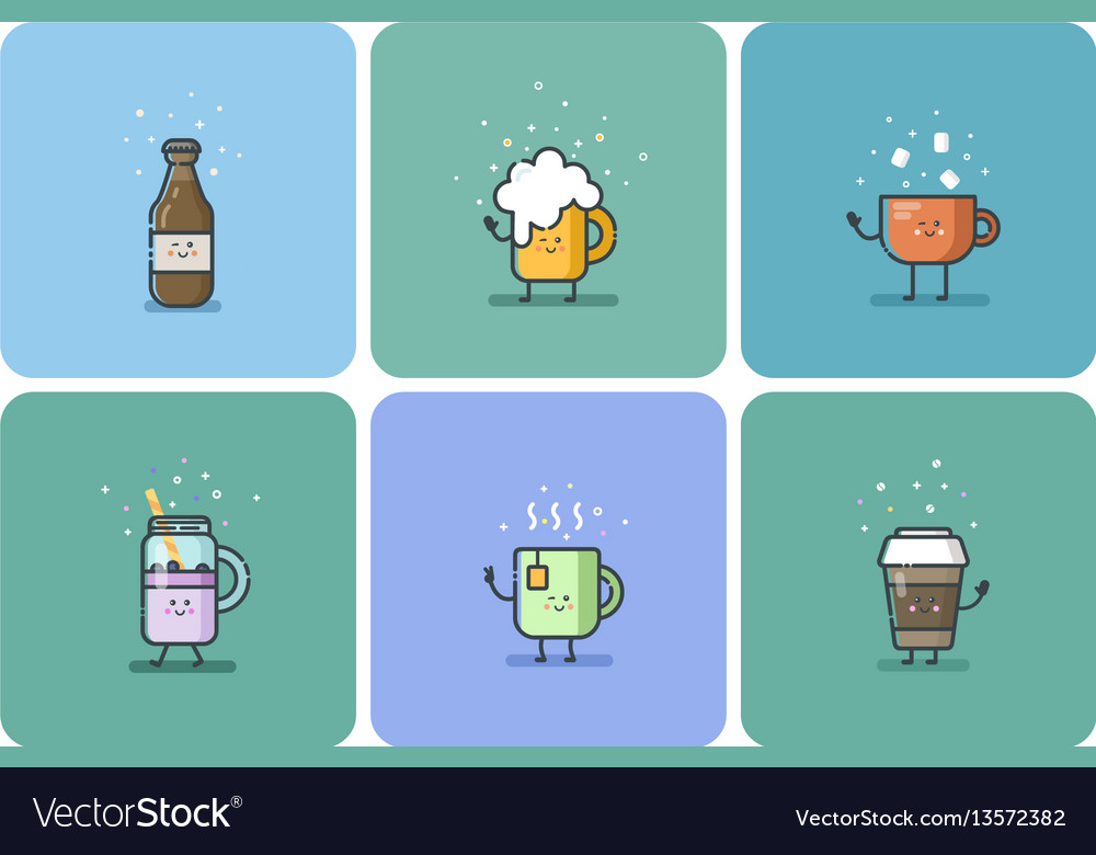 Set of cold and hot drinks cute cartoon characters