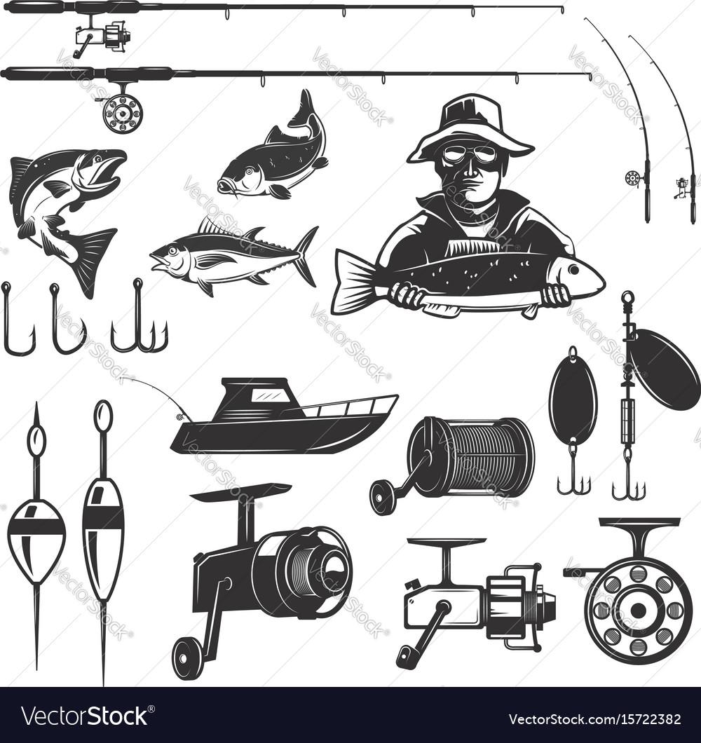 Set of fishing design elements isolated on white