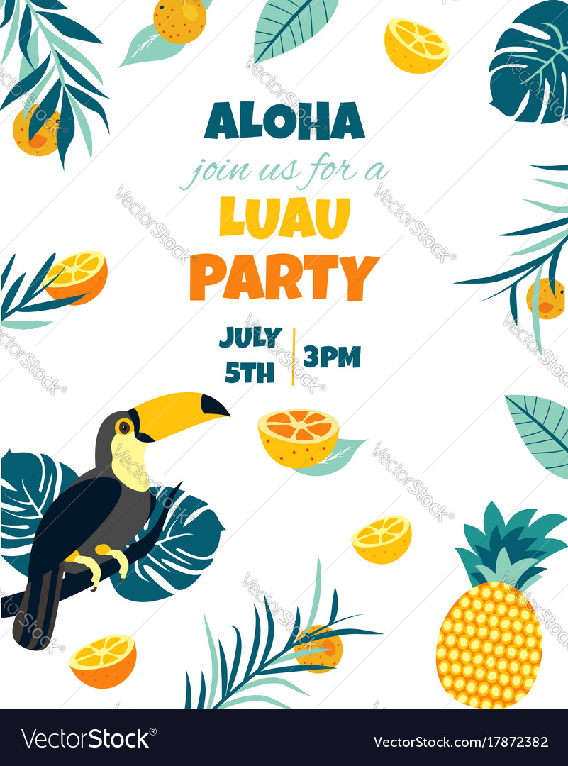 Tropical hawaiian poster with toucanparty template vector image