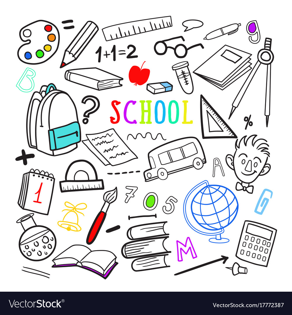 Back to school hand drawn doodle education