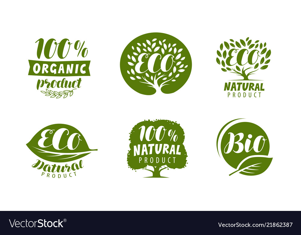 Bio eco logo or label natural organic product