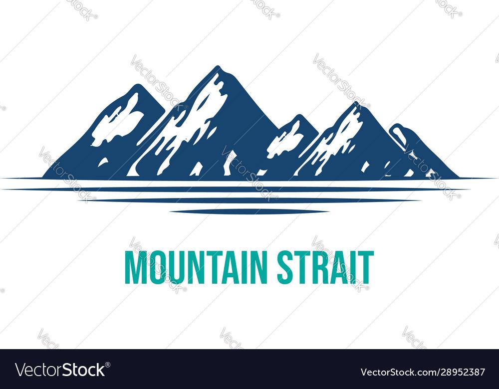 Blue mountain and lake or river logo design vect