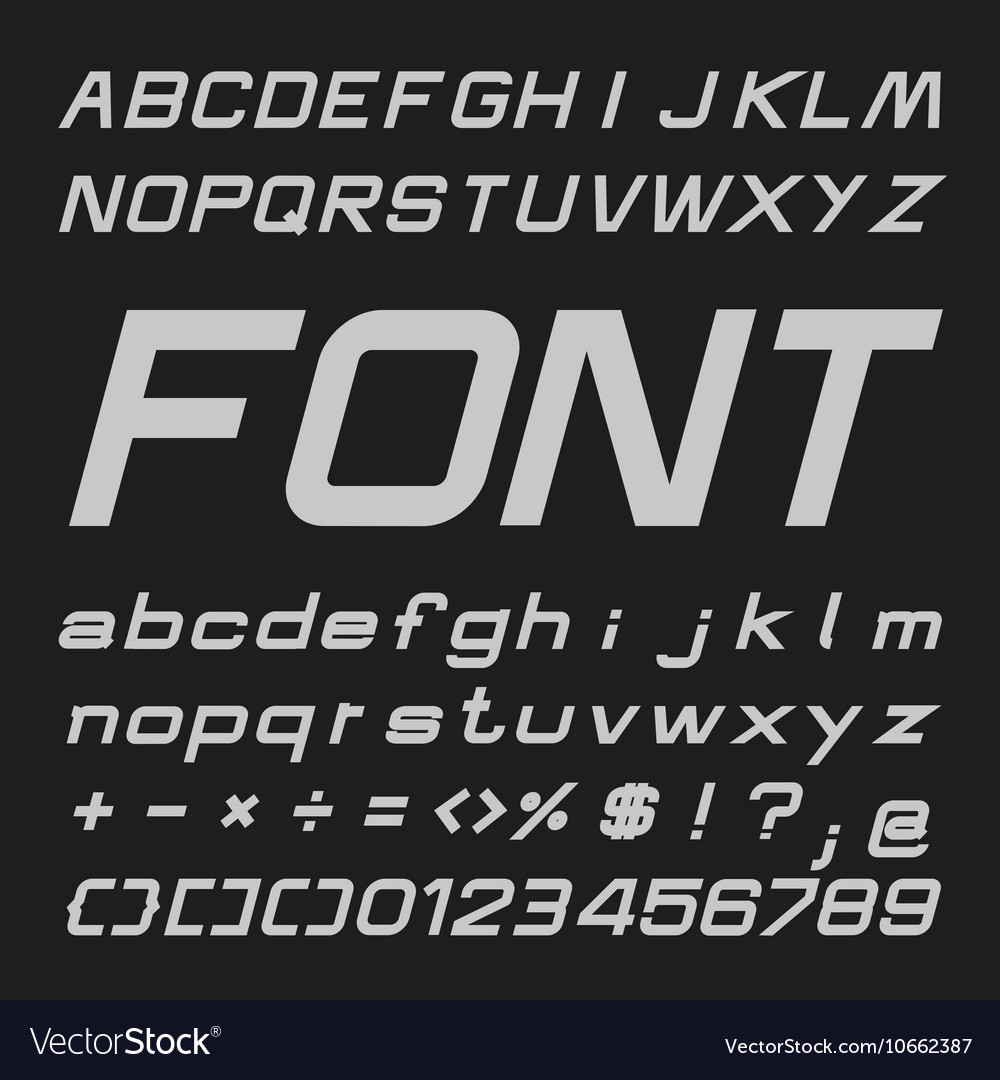 Bold Italic Alphabet font Type letters and numbers