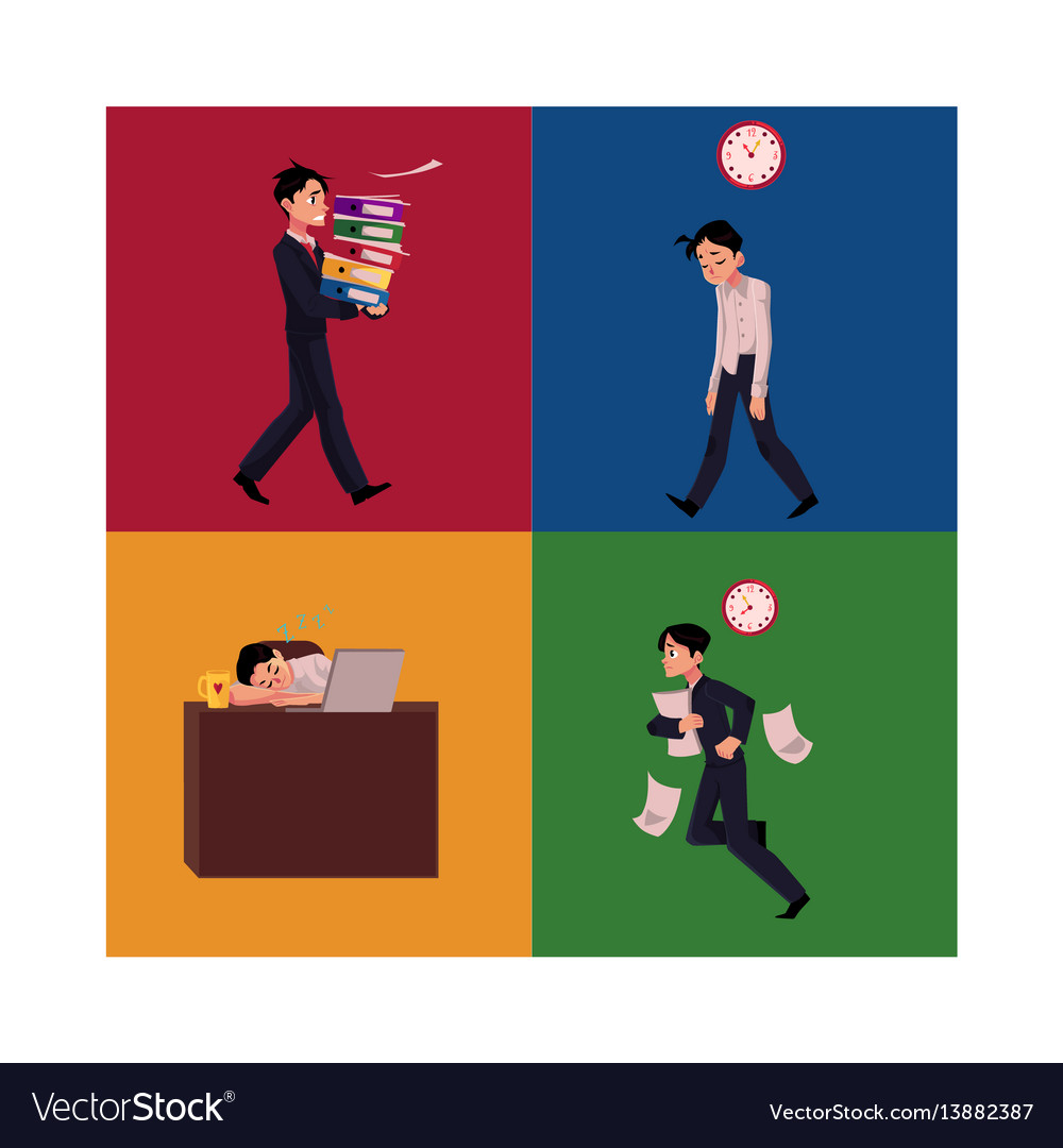 Businessman manager late to work exhausted and vector image