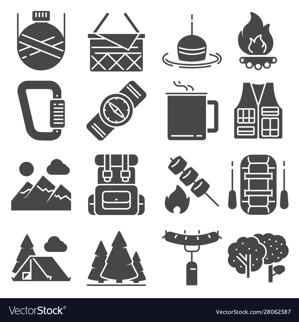 Camping and outdoor recreation icons set