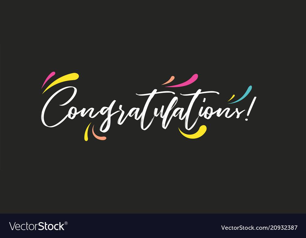 congrats congratulations banner handwritten vector image