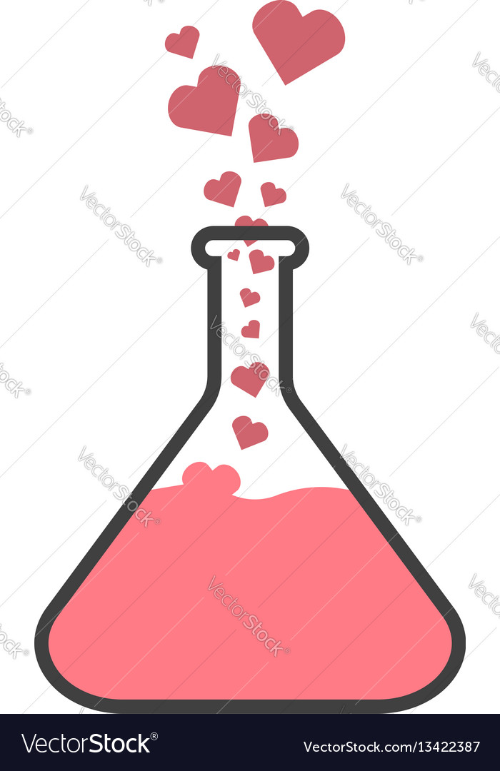 Flask with hearts the concept of love chemistry