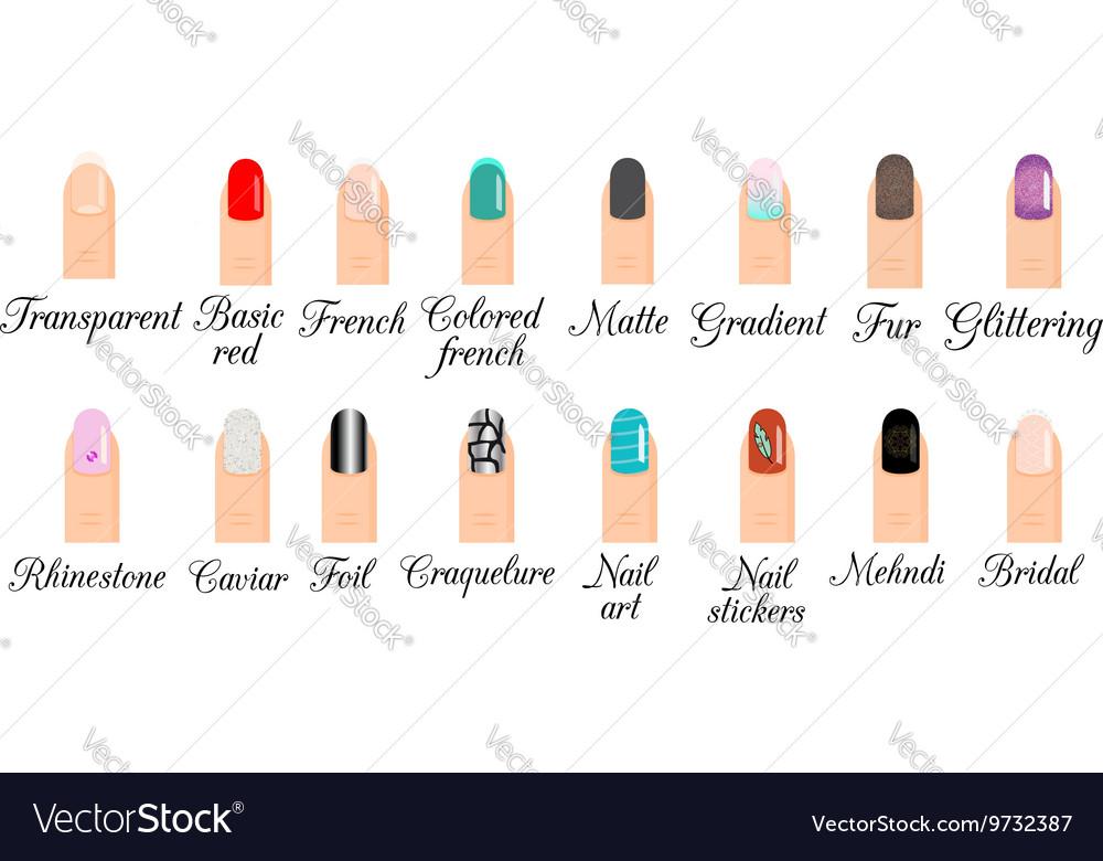 Manicure Types Nail Design Nail Art Set Royalty Free Vector