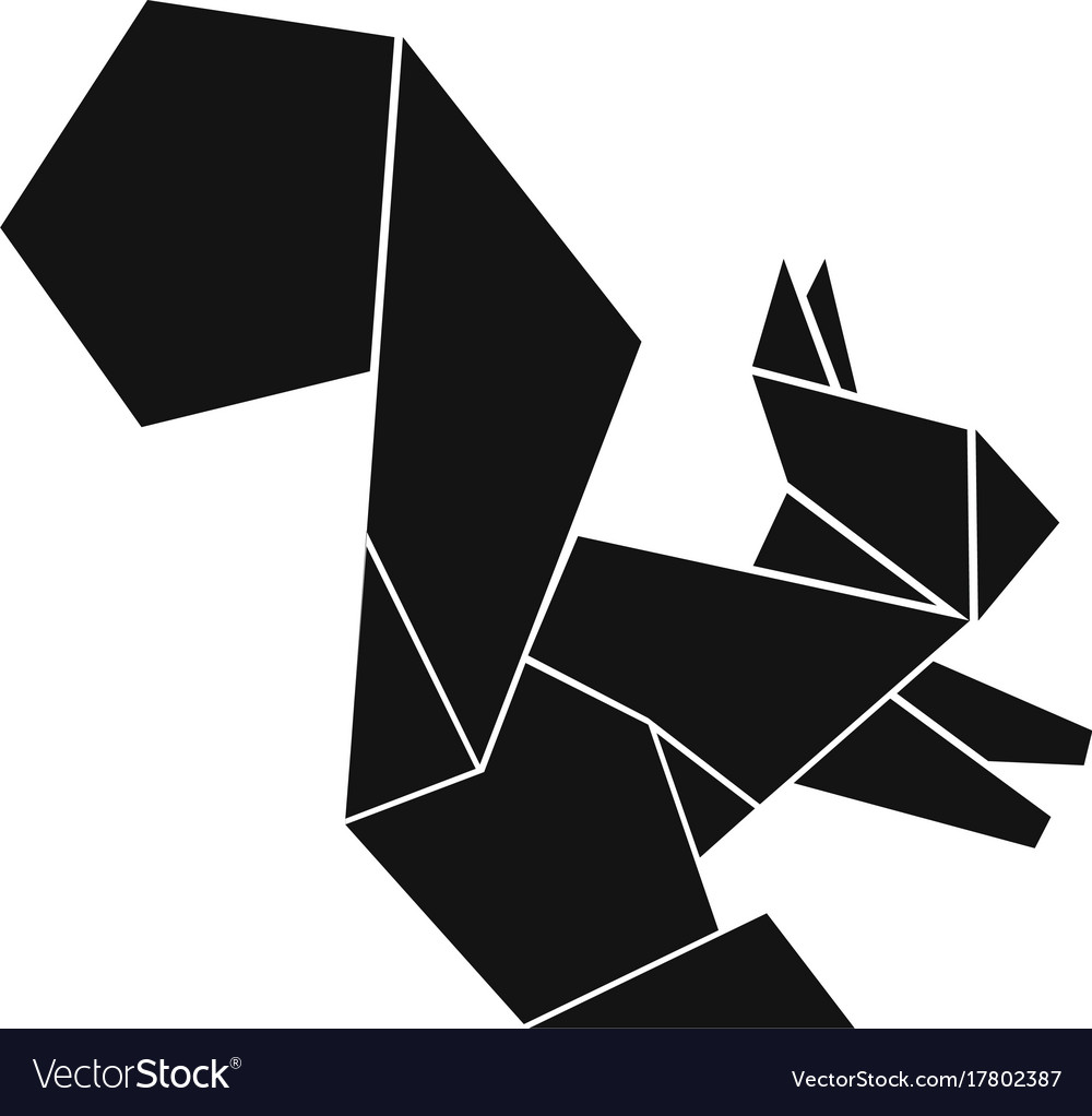 Origami Squirrel Icon Simple Black Style Vector Image