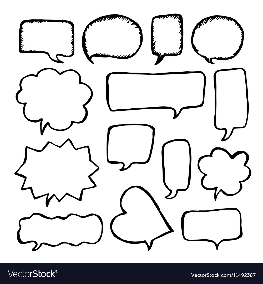 Speech or thought bubbles set Cartoon doodle