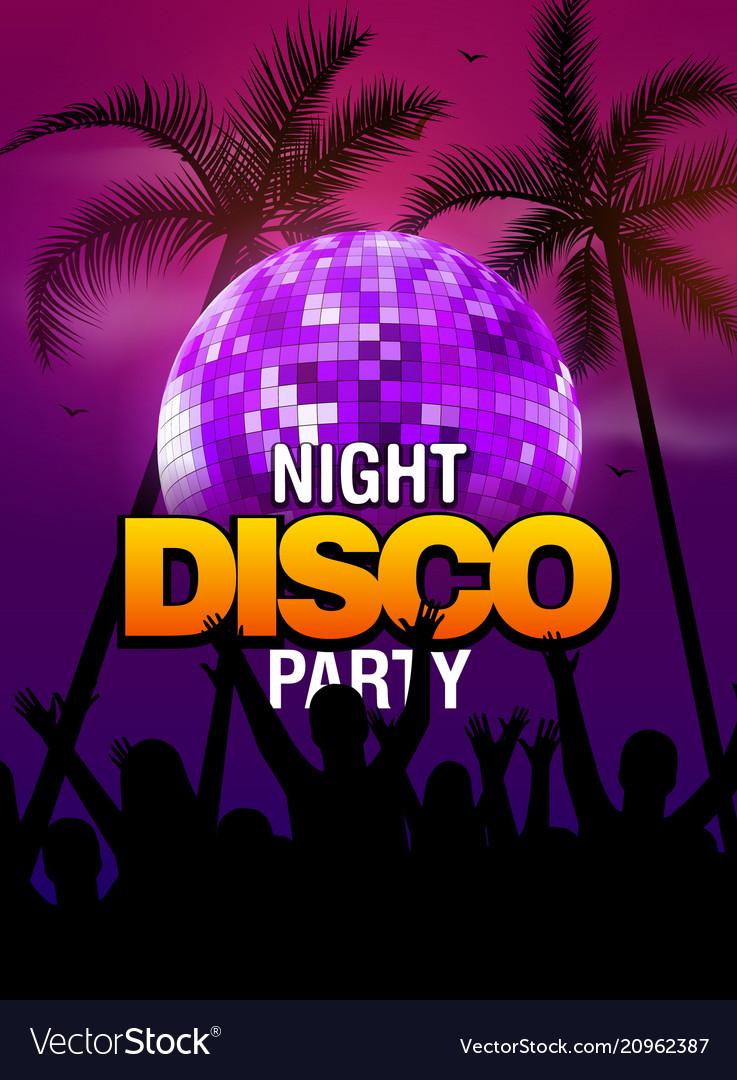 Summer beach party disco poster design disco ball