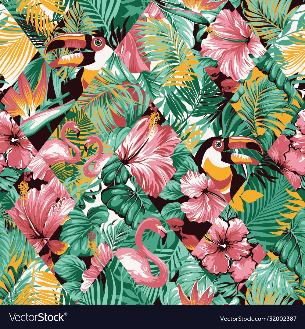 Tropical leaves hibiscus and birds patchwork