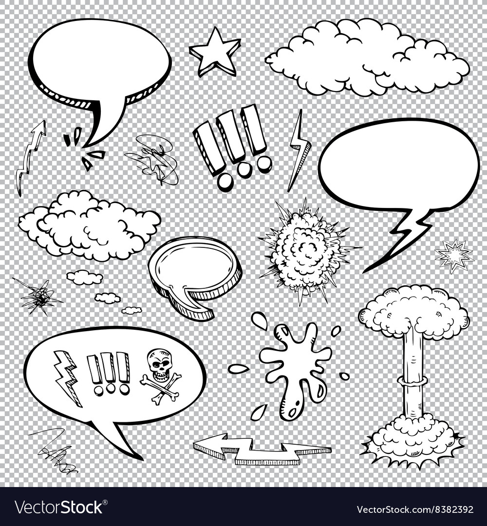 A set of comic bubbles and elements with halftone