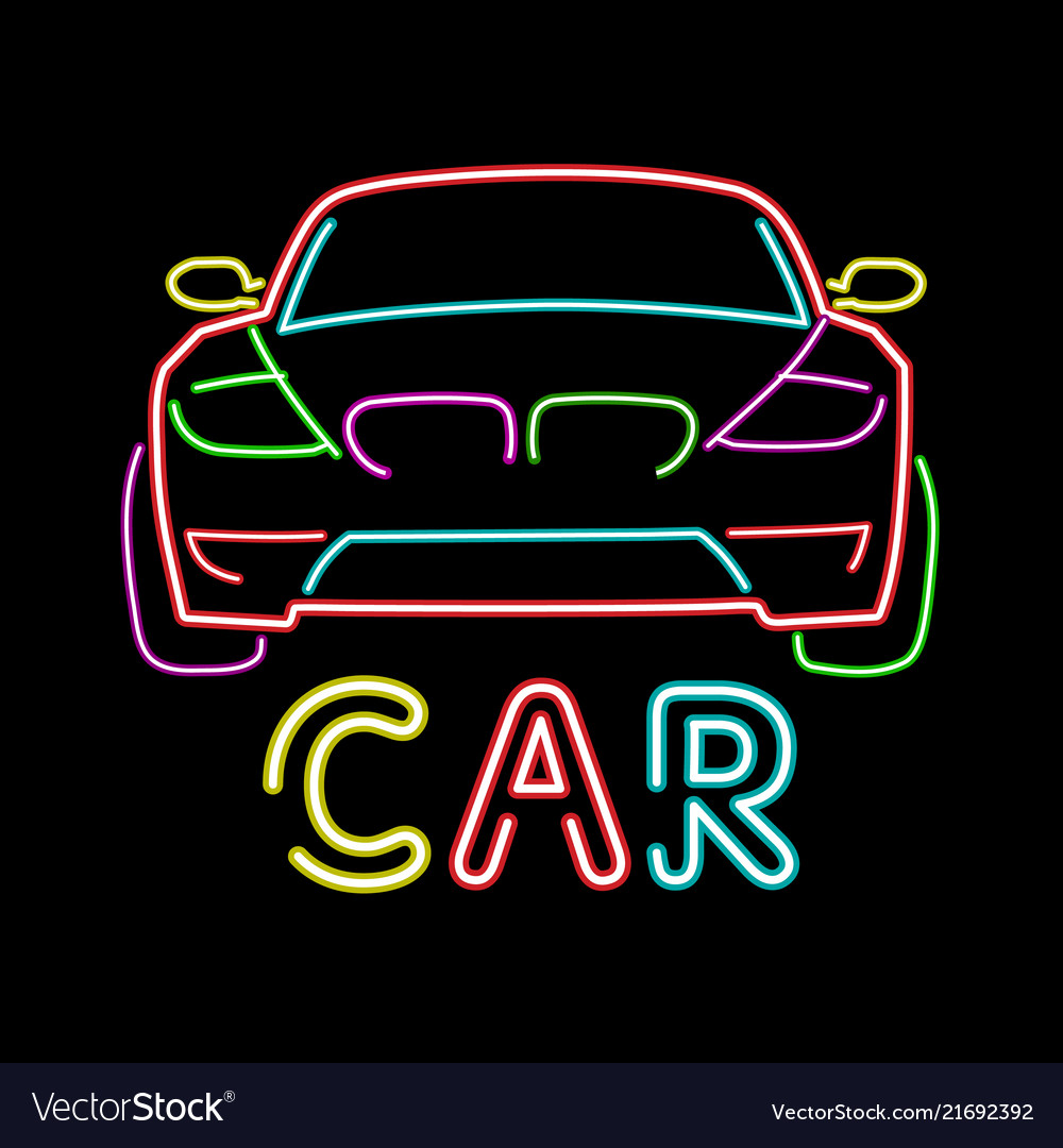 Abstract retro sign car neon sign vintage