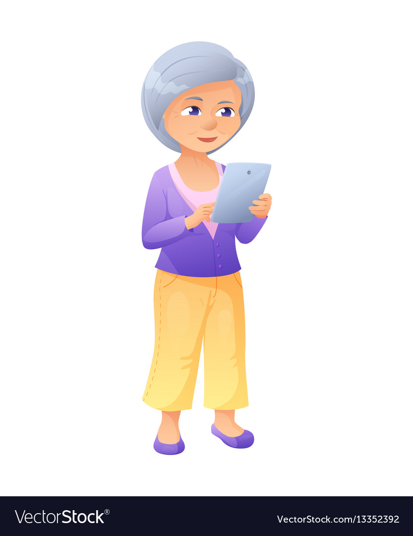 An old active lady who is vector image