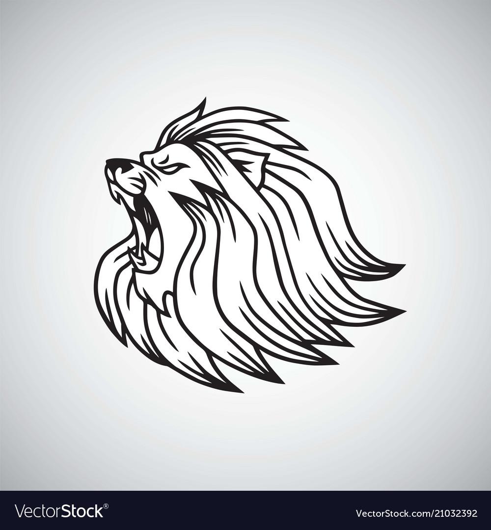 Angry lion head roaring logo mascot design