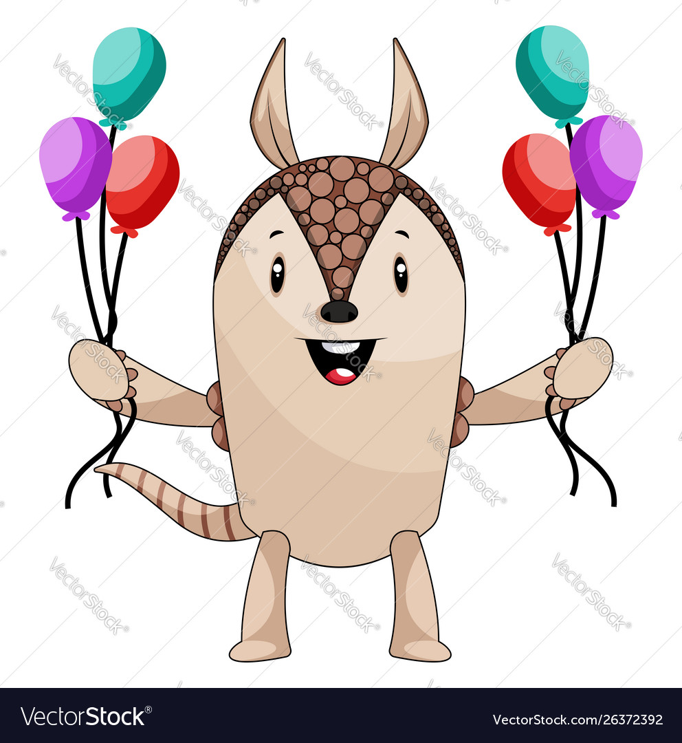 Armadillo with balloons on white background