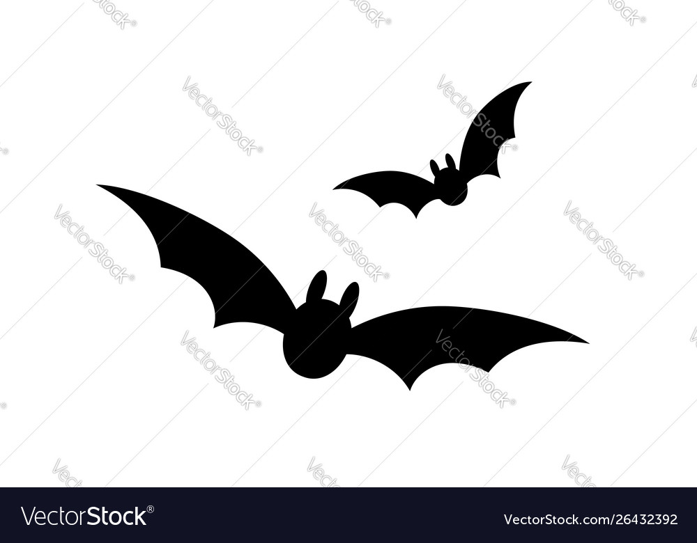 Bats icon set bat black silhouette with wings