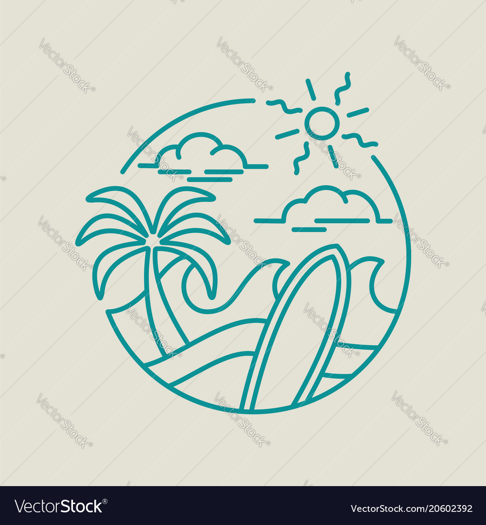 Beach surf icon for summer vacation in line art