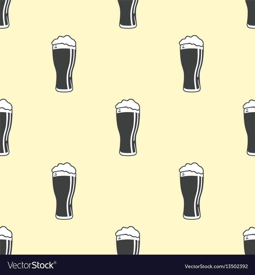 Beer glass pattern seamless background vector image