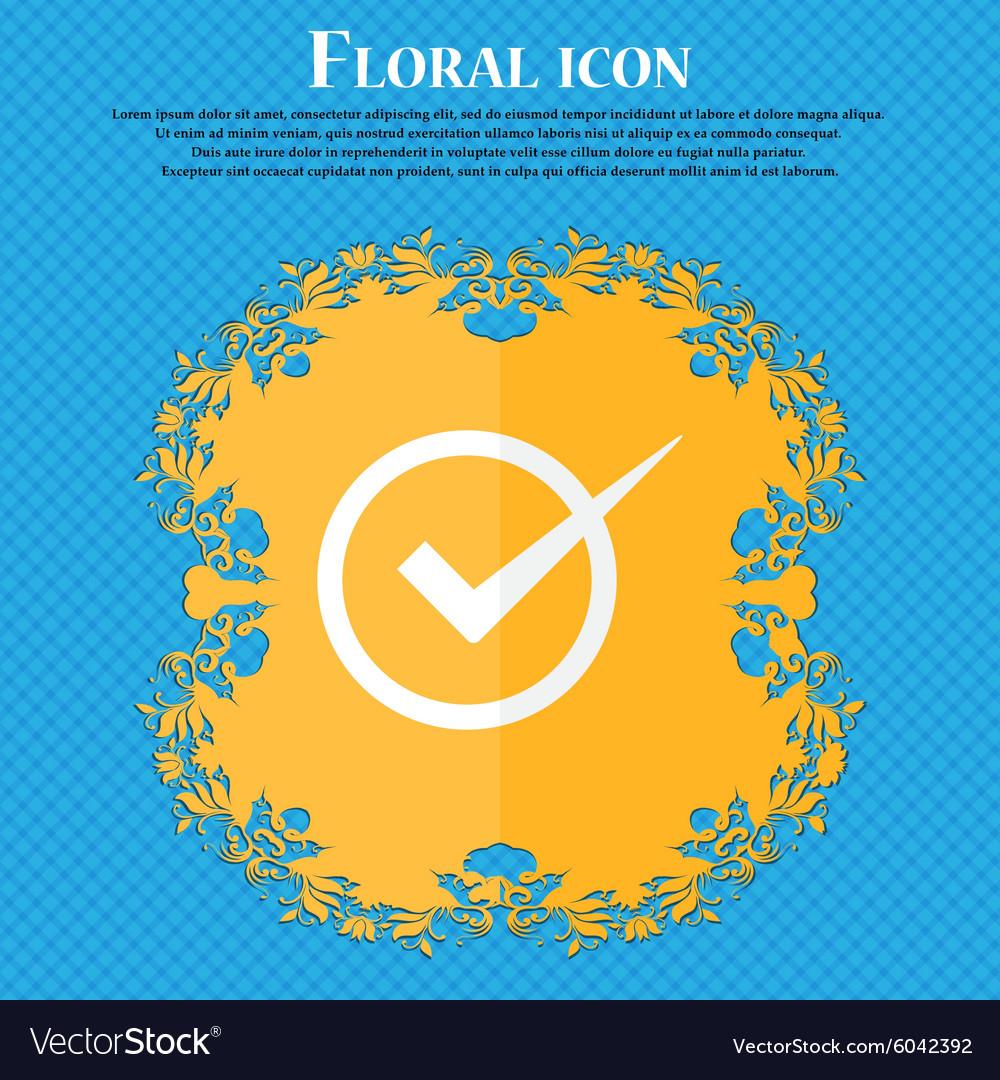 Check mark sign icon Checkbox button Floral flat