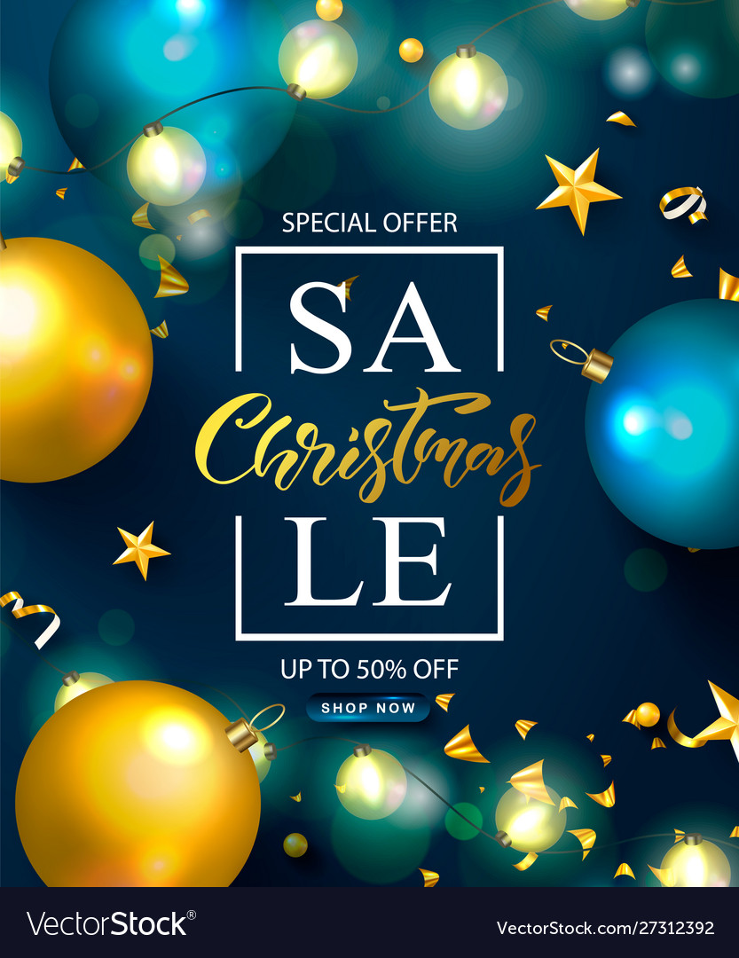 Christmas sale web banner holiday background with