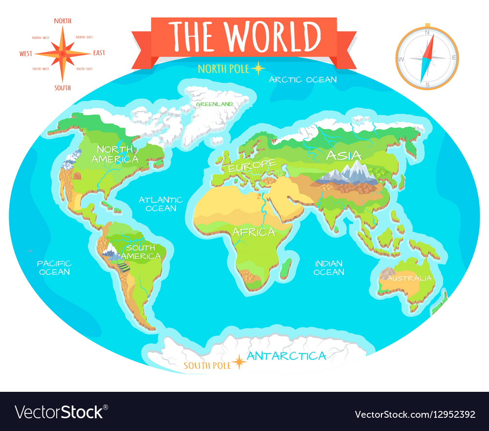 Continents oceans on map of world our planet vector image publicscrutiny Choice Image