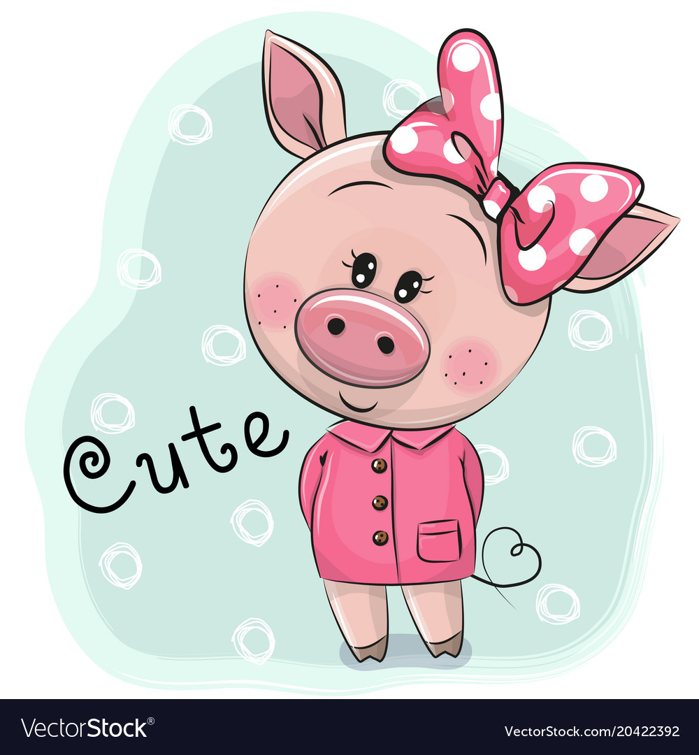 cute piggy girl isolated on a blue background vector image