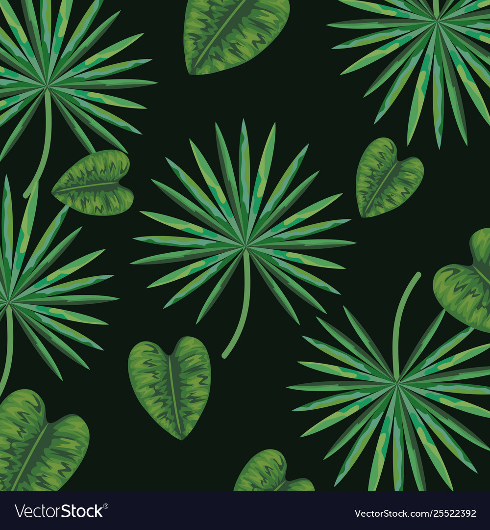 Cute Plant With Nature Leaves Background Vector Image
